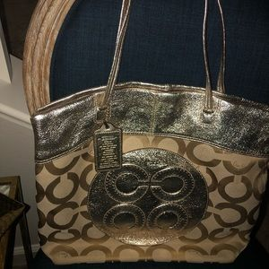 COACH Gold and Taupe Handbag